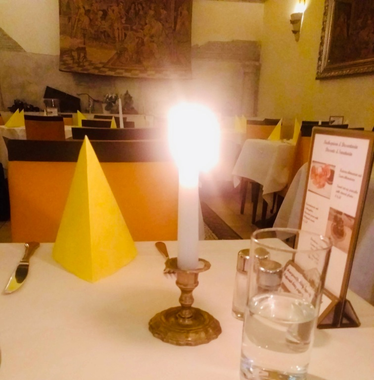Candle-lit meal in Vienna